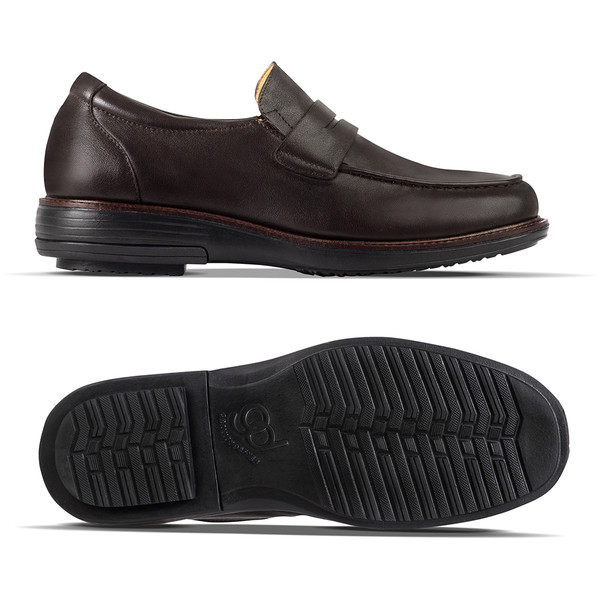 mens brown leather loafer angle-2