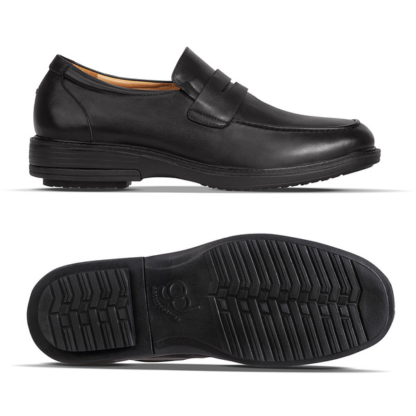 mens black leather loafer angle-2